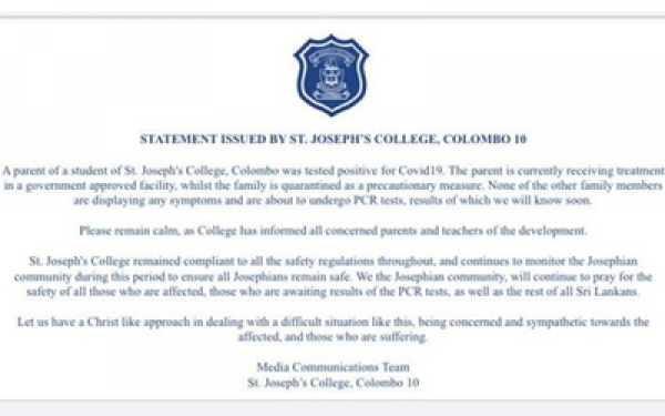 Parent of a student of St. Joseph's College tested positive for Covid-19
