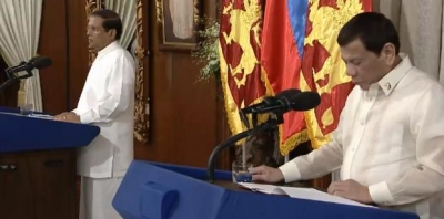 "Philippines President Rodrigo Duterte Says Sri Lankan President Maithripala Sirisena Has Vowed To Emulate His Approach By ""Killing Bastards"""