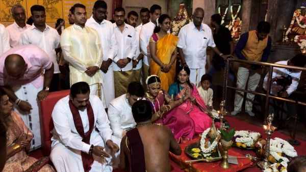Mahinda Rajapaksa's Youngest Son Rohitha And His Bride Tatyana Engage In Hindu Wedding Rituals Ay Mayurapathi Kovil