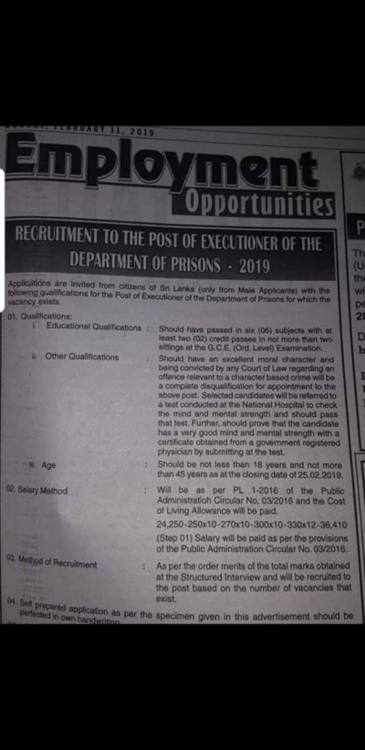 Prisons Department Advertises For Post Of Executioner: Candidate Should Have Six Subjects At O/Level With Two Credit Passes
