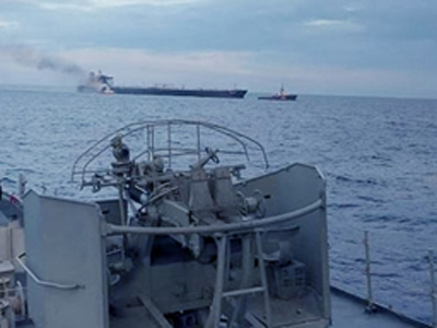 Second fire aboard oil tanker under control as navy tows it away
